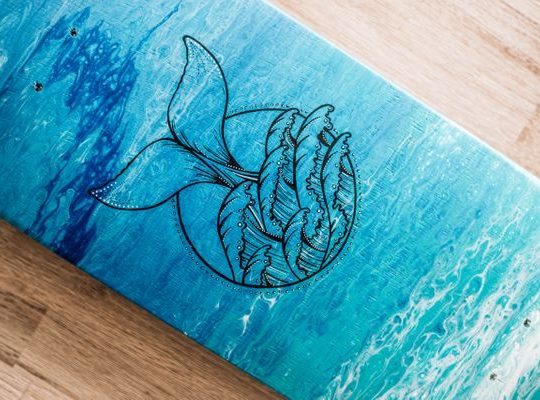 Whale Tail Design Skate Deck